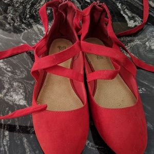 Red Ballet Flats with Ankle Ties 11 wide